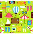 Flat Summer Time Travel Seamless Pattern vector image