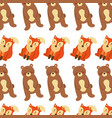 forest bear and fox animals seamless pattern image vector image