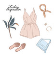 hand drawn fashion woman clothes accessories vector image