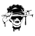 hand drawn girls head vector image vector image