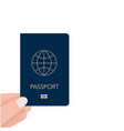 hand holding passport in for check travel vector image vector image
