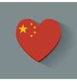 Heart-shaped icon with flag of China vector image vector image