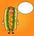 hot dog cartoon pop art vector image