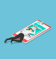 isometric businessman trapped in a mousetrap vector image vector image