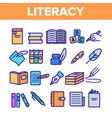 literacy linear thin icons set pictogram vector image