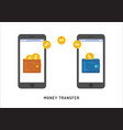 money transfer between wallets in smartphones vector image vector image