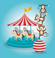 monkeys and carousel circus show vector image