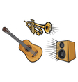 Musical instruments-trumpet guitar and speaker vector image vector image