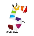 Number five Made of colorful animal cartoon vector image vector image