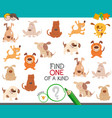 one a kind task for childen with dogs vector image vector image