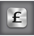 Pound icon - metal app button vector image vector image