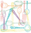 Retro cutlery sketch style set vector image