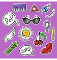 set of fashionable patches eye cherry sun glasses vector image
