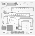 Set thin line icons caliper ruler pair of vector image vector image