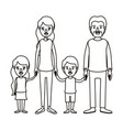silhouette caricature family group with parents vector image vector image