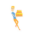 smiling young man holding big festive cake cartoon vector image vector image