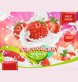 strawberry yogurt fruits and milk splashes 3d vector image vector image