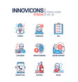 stress concept line design style icons set vector image vector image