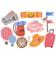 travel objects collection airplane tickets vector image
