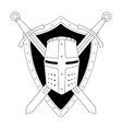 Two crossed swords shield and helmet emblem vector image vector image