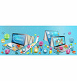 two laptops like books concept learning o vector image