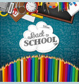 whiteboard with colored pencils and back to school vector image vector image