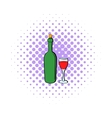 Wine bottle and wine glass icon comics style vector image vector image