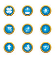 wood life icons set flat style vector image vector image