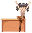 young lady sitting on bench vector image vector image