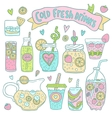 Set of cute hand drawn cocktails and lemonades vector image