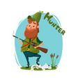 a hunter with a gun got a rabbit cartoon vector image