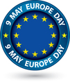 9 may Europe day blue label with flag vector image