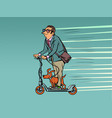 a businessman with dog rides on an electric vector image