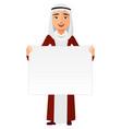 arab business man holding white blank poster