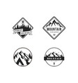black and white forest mountain adventure logo set vector image vector image