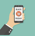black friday sale hand holding smartphone with vector image vector image