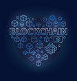 blockchain technology blue heart i love block vector image vector image