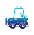 blue silhouette kawaii happy tractor vehicle vector image