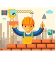 builder builds brick wall house vector image vector image