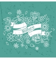 Card with beautiful simple flowers beetles and vector image