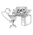 cartoon of man or boy playing computer game vector image