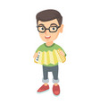 caucasian boy in glasses playing the accordion vector image vector image