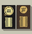 coffee menu set of two vintage labels vector image