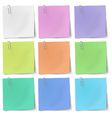 Colour sticky notes with metallic paper clip vector image