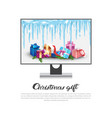computer display with holiday decorations vector image vector image