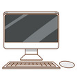 computer set with keyboard and display on white vector image