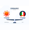 coronavirus or italy creative concept scales vector image