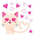 cute greeting card with cat template for vector image vector image