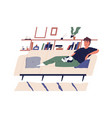 cute happy boy lying on comfy couch with his cat vector image vector image