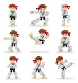 different poses of karate kid vector image